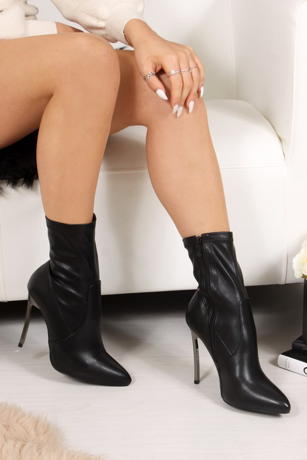 SELENA Black Faux Leather Stiletto Boots