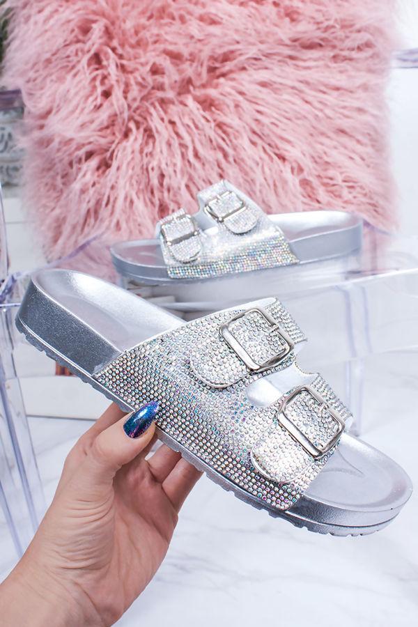 FAYE Silver Diamante Double Buckle Strap Sliders