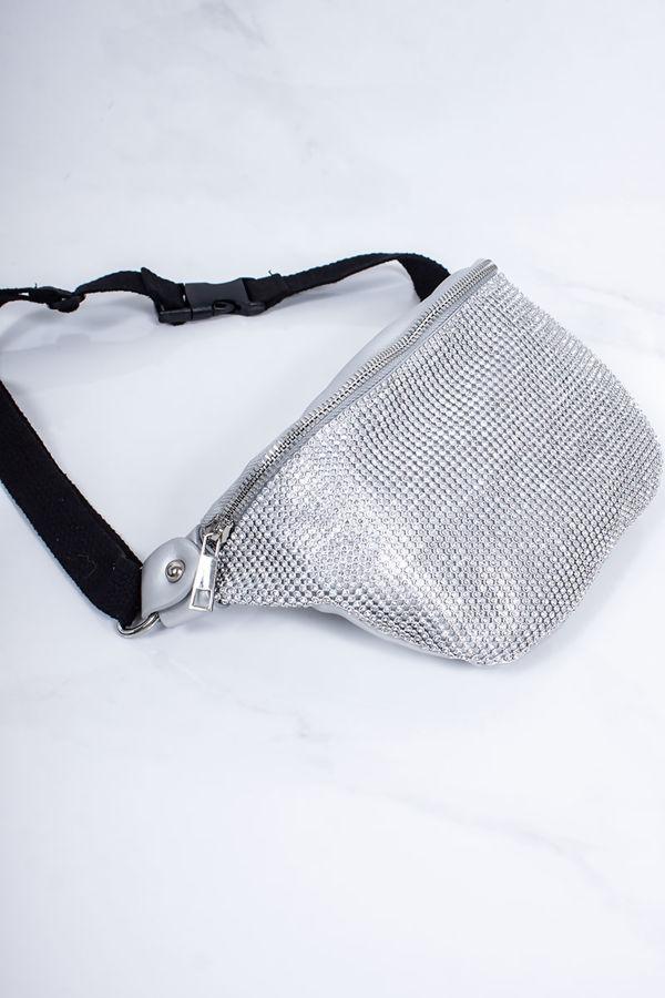 SAMMIE Silver Diamante Bum Bag