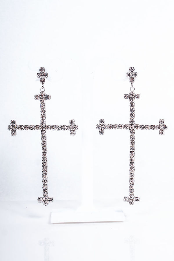 CATHY Silver Diamante Cross Earrings