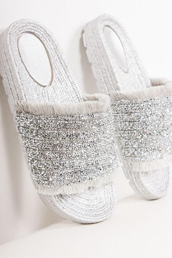 SAGE Silver Diamante Strap Espadrille Sliders
