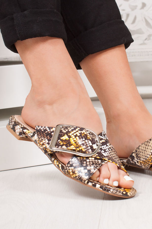 NADA Yellow Snake Print Cross Strap Buckle Sandals