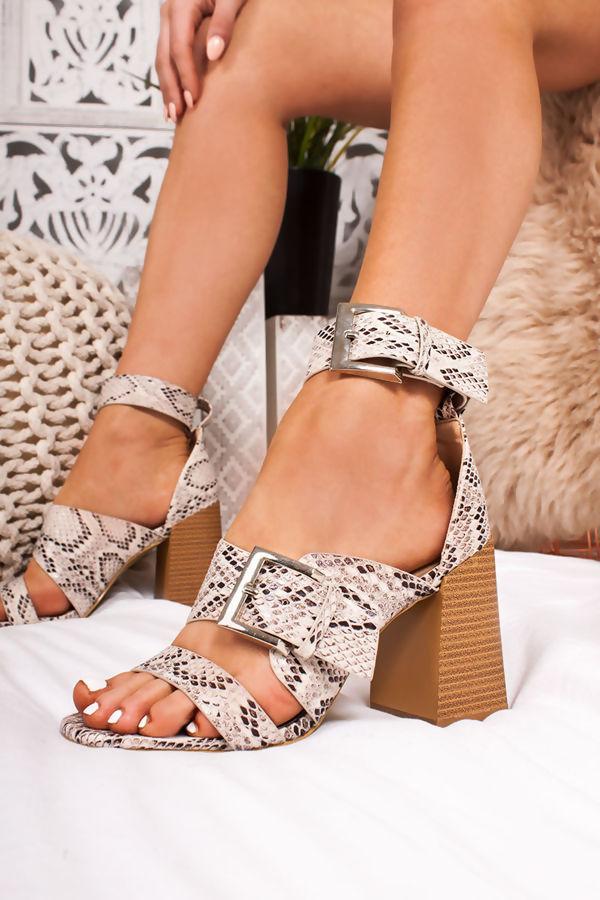 6006e427af09 ROBERTA Snake Print Strap Block Heeled Sandals