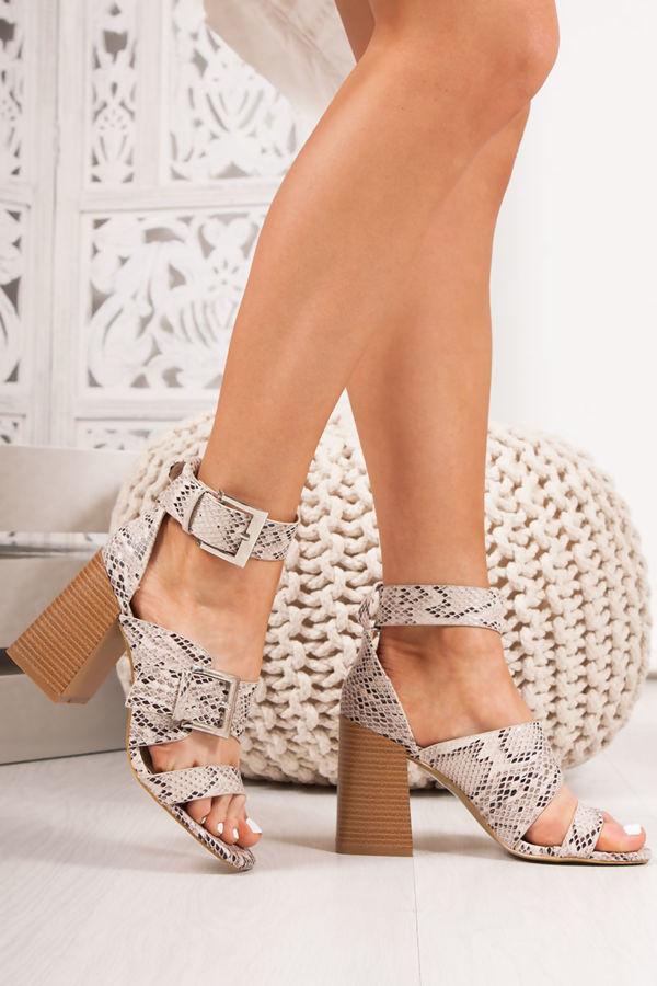 4a8e19b1e ROBERTA Snake Print Strap Block Heeled Sandals
