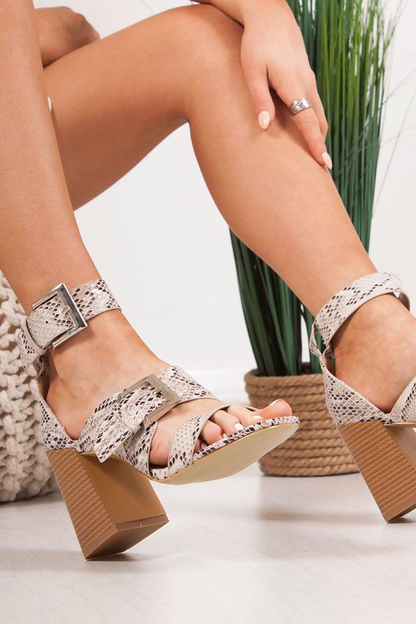 ROBERTA Snake Print Strap Block Heeled Sandals