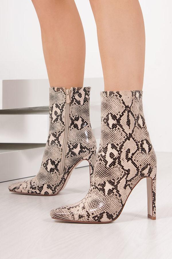 MADELINE Snake Print Slim Block Heeled Boots