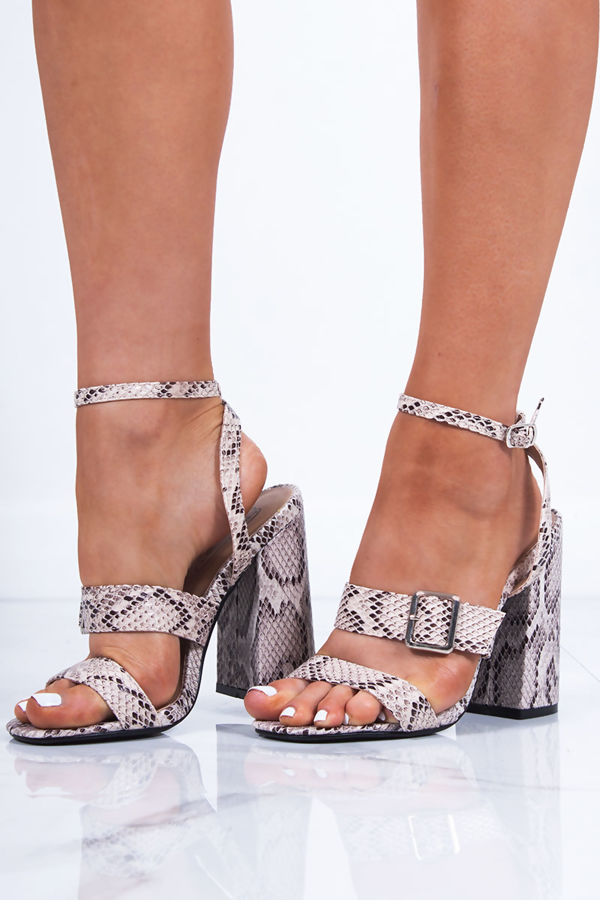 SAVANNAH Snake Strappy Block Heel Sandals