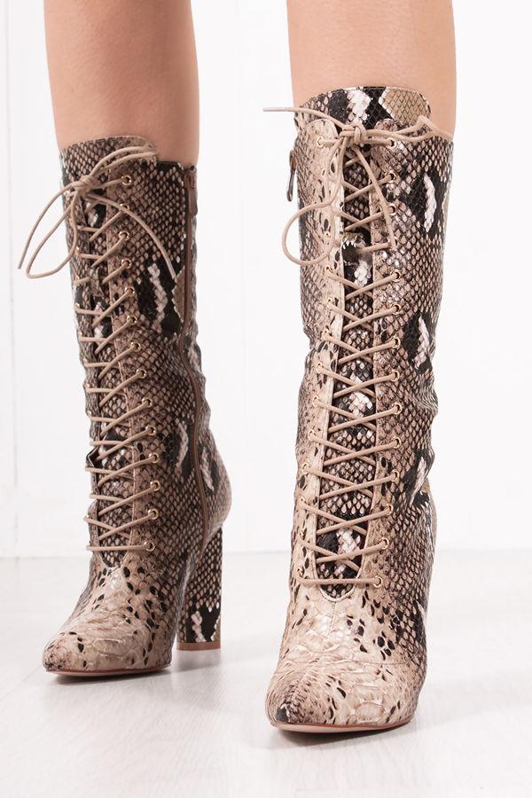 CASANDRA Snake Print Lace Up Block Heel Boots