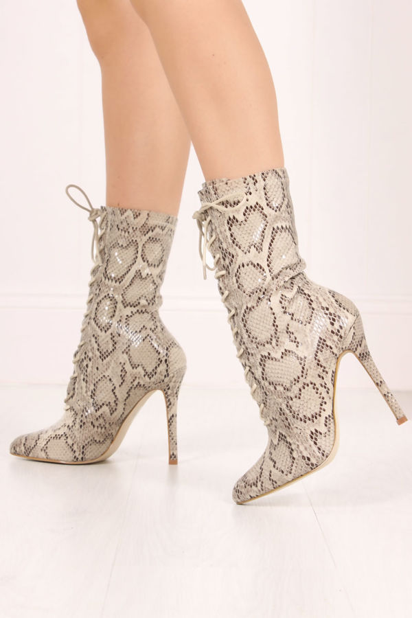 ZOEY Snake Print Lace Up Boots