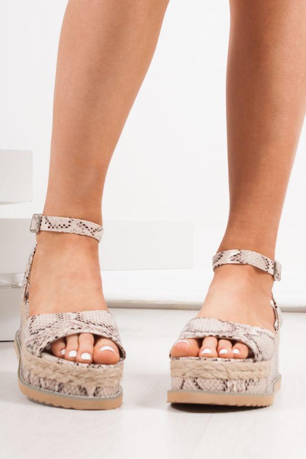 KENDALL Snake Print Flatform Espadrille Sandals