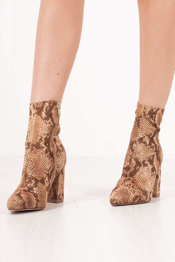 AUTUMN Snake Print Block Heel Sock Boots