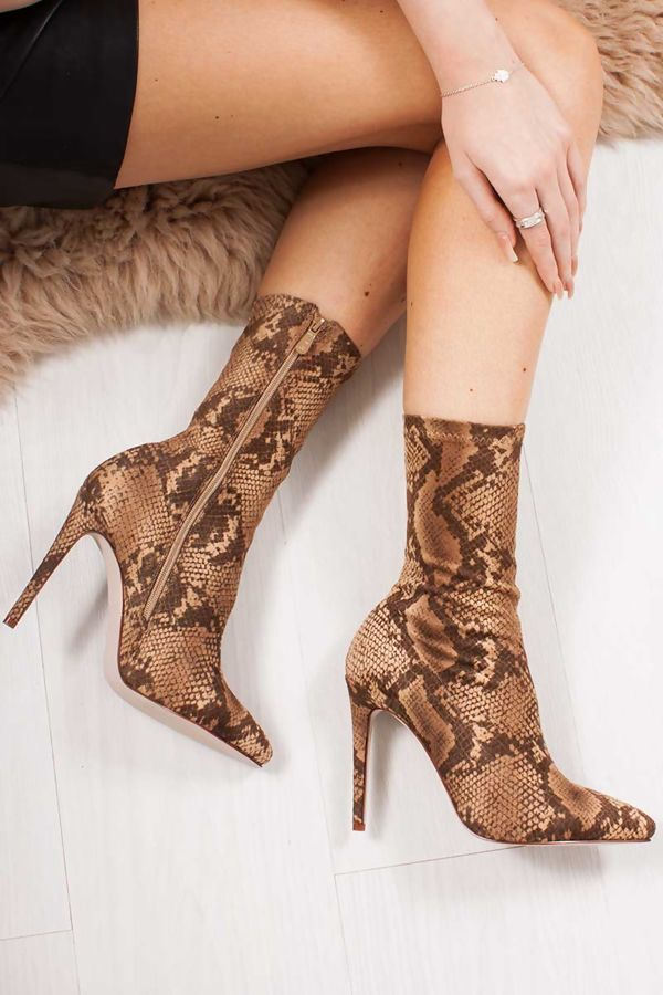 MARIANNA Brown Snake Print Faux Suede Sock Boots
