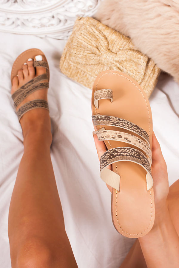 b950f3e8a58a CALLIE Snake Print Strap Toe Loop Sandals
