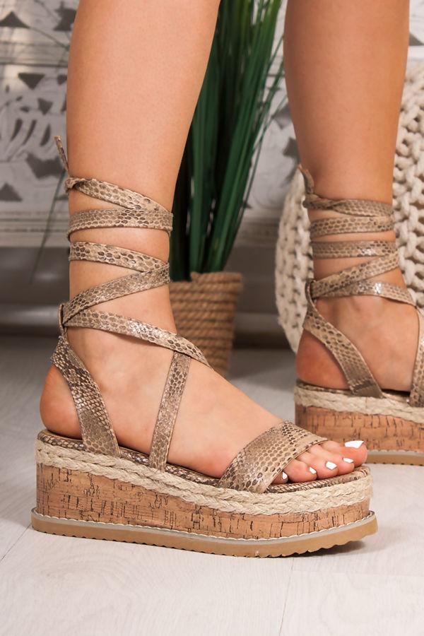 EVE Snake Print Wrap Up Flatform Espadrille Sandals