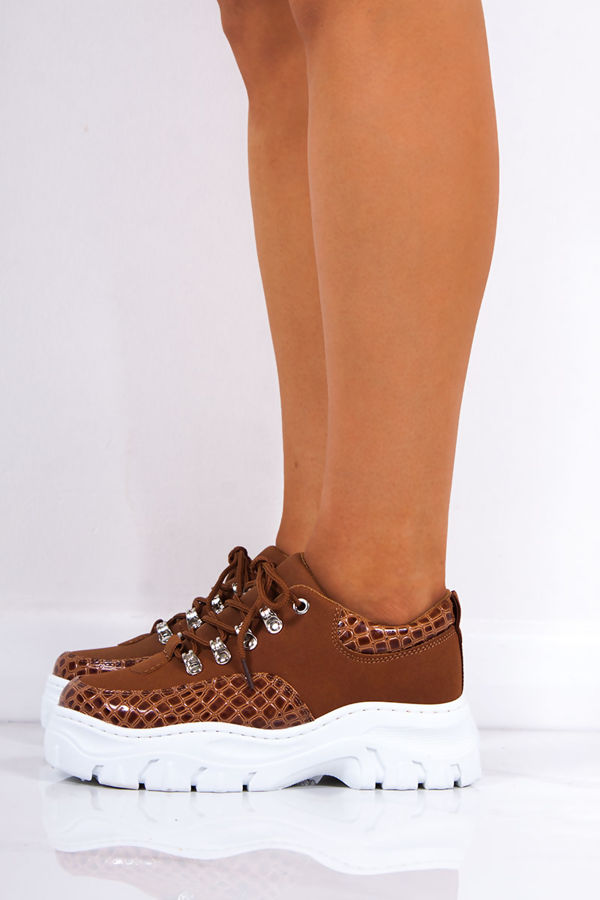 ELLE Tan Snake Print Lace Up Chunky Trainers
