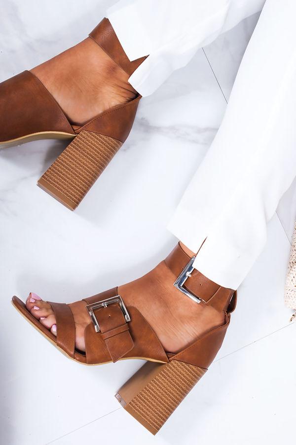 ROBERTA Tan Faux Leather Strap Block Heeled Sandals
