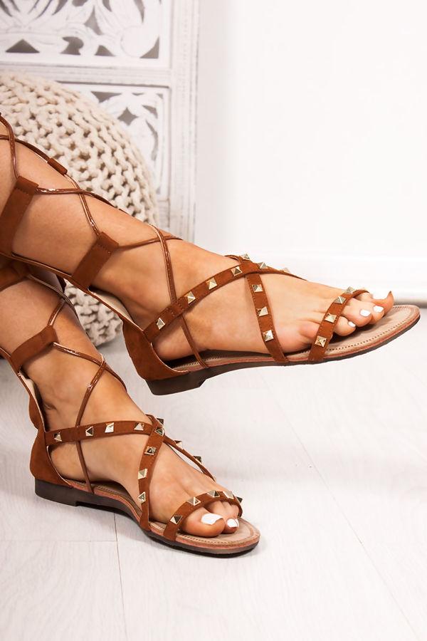 b7ae2b8c54a1 ANASTASIA Tan Faux Suede Stud Gladiator Sandals