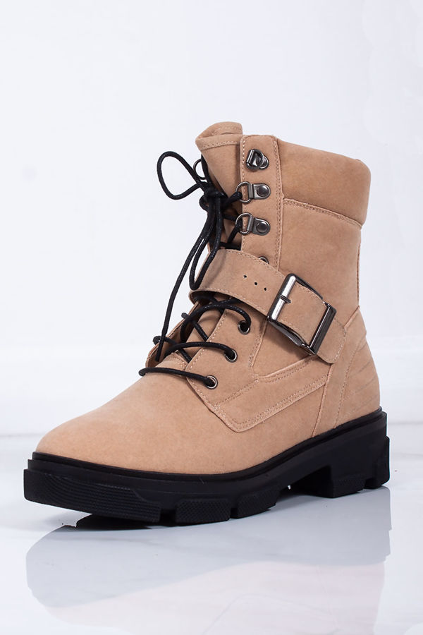 ALICIA Sand Buckle Hiker Boots In Faux Suede
