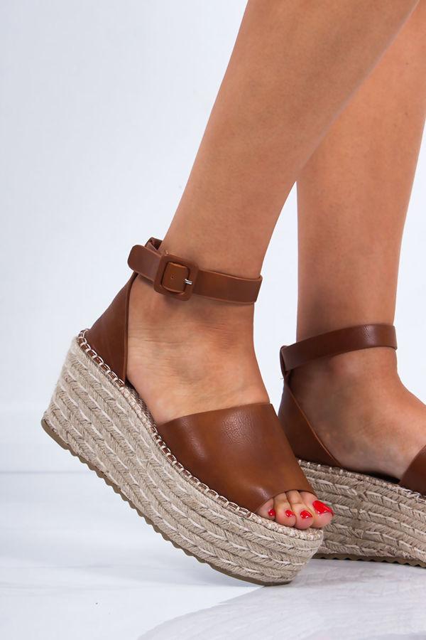 LEAH Tan Faux Leather Raffia Espadrille Flatforms