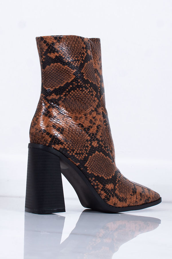 PERRIE Tan Snake Print Faux Leather Block Heel Ankle Boots