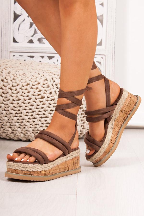 f0e325176997 HARLOW Mocha Faux Suede Wrap Up Flatform Espadrille Sandals