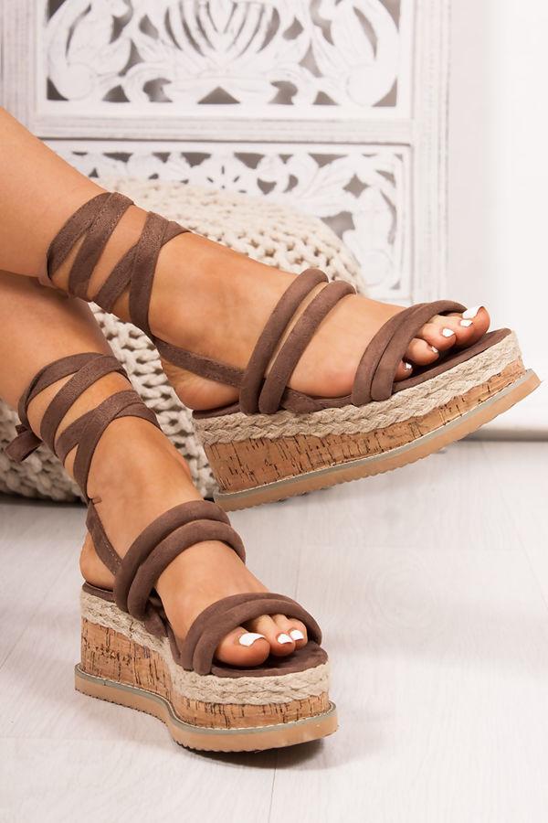 2a4ecf0562e4 HARLOW Mocha Faux Suede Wrap Up Flatform Espadrille Sandals