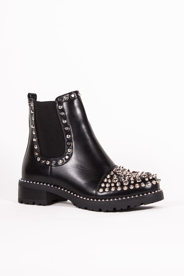 THEA Black PU Ankle Boots With Spike Stud Details