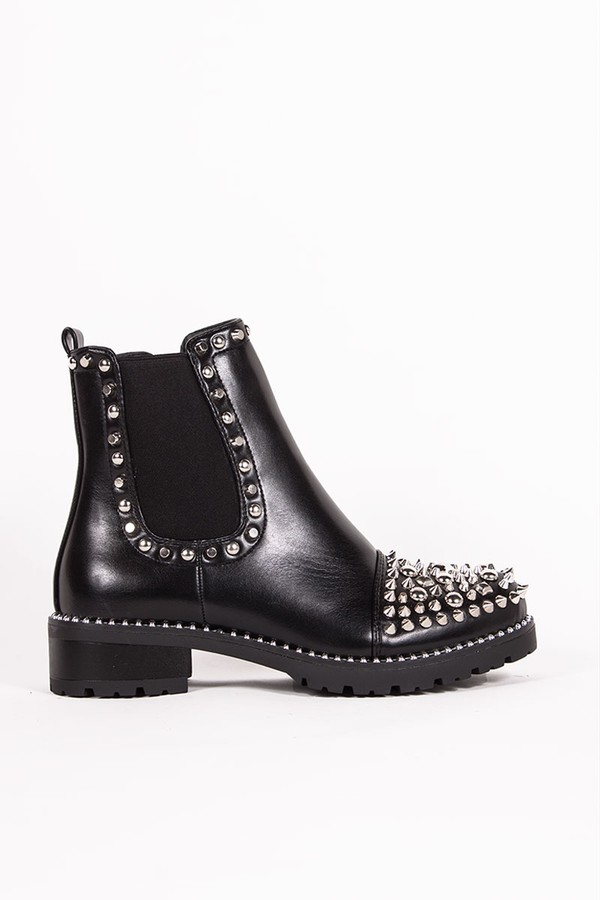 cheap for sale closer at arriving THEA Black PU Ankle Boots With Spike Stud Details