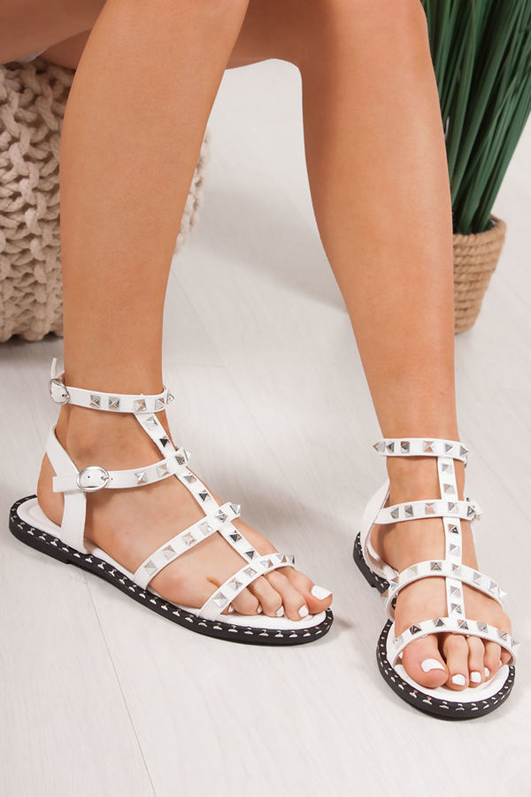 SHANICE White Cage Silver Stud Sandals