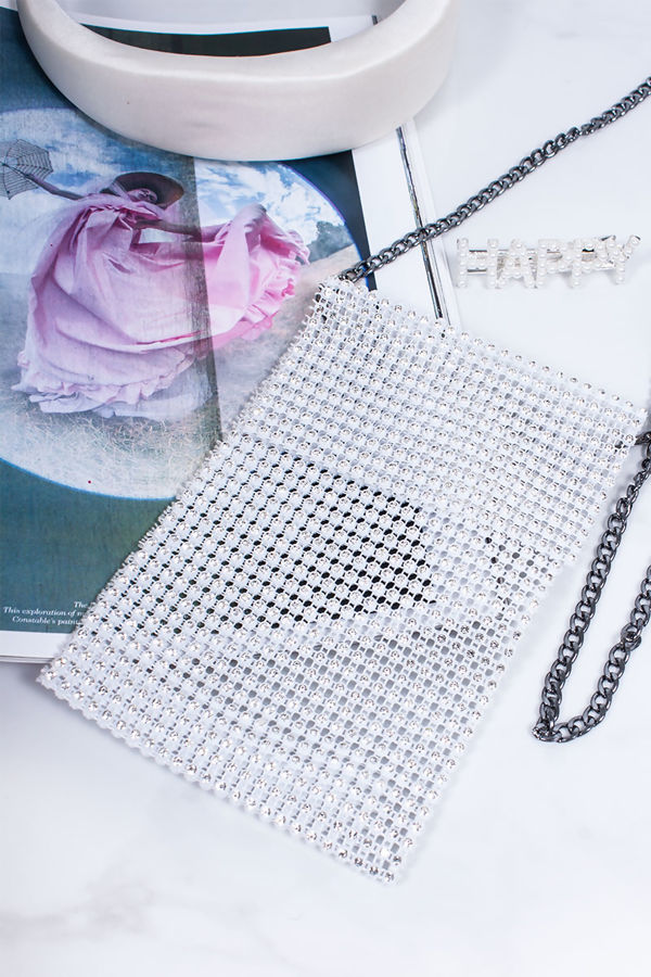 CHARLY White Diamante Phone Pouch Bag