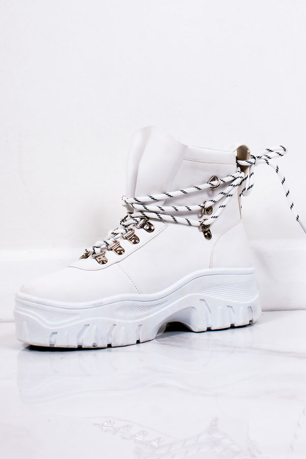 aec5ae6df1 HARLEY White Chunky Sole Lace Up Hiker Boots