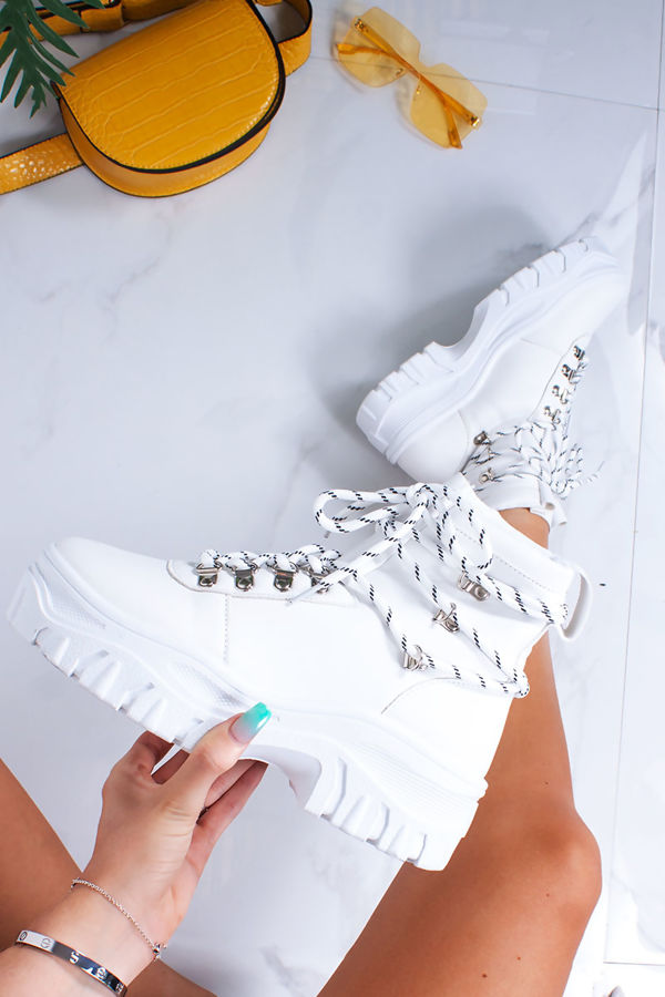HAILEY White Lace Up Hi-Top Chunky Hiker Trainers