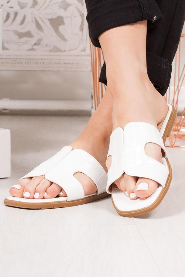 DEENA White Croc Print Strap Sandals