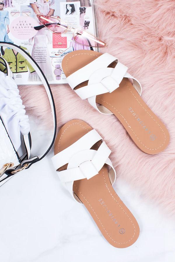 HOLLIE White Cross Strap Mule Sandals