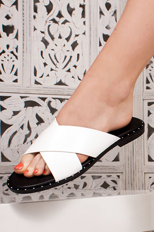 ALEXA White Cross Strap Stud Mule Sandals