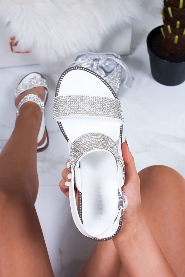 Gia White Diamante Detail Strap Flat Sandals by Lavish Luxe