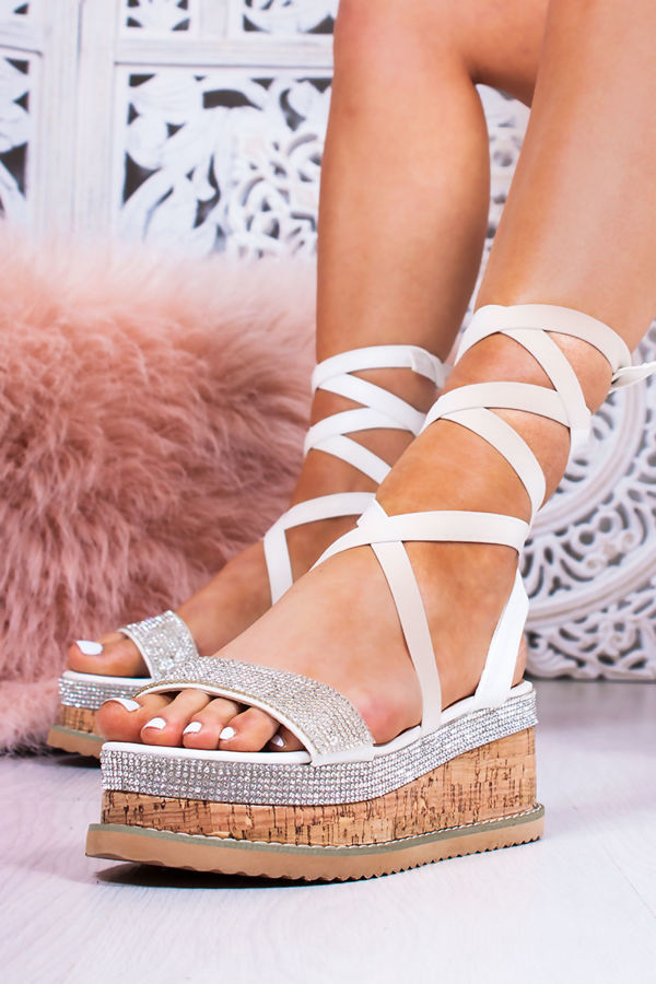 LAURIE White Diamante Wrap Up Espadrille Flatforms
