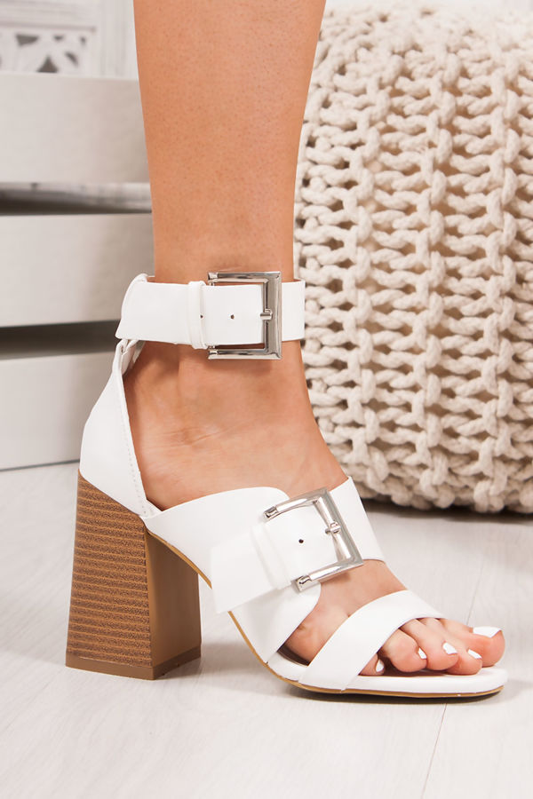 9c6dcf59e6a2 ROBERTA White Faux Leather Strap Block Heeled Sandals