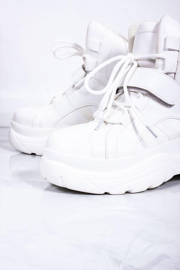 LENNY White Chunky Platform Trainers