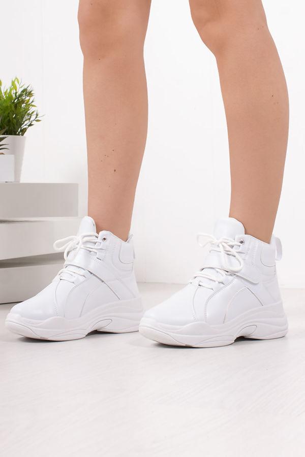 ARIA White Chunky High Top Trainers