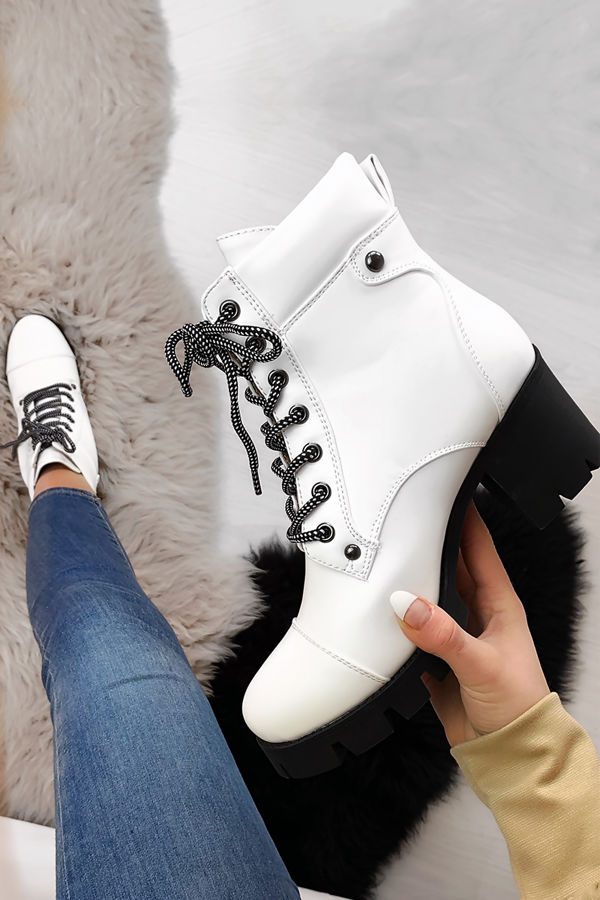 NORTH White Lace Up Platform Ankle Boots