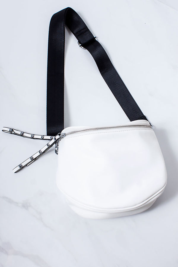 HEATHER White Faux Leather Bum Bag