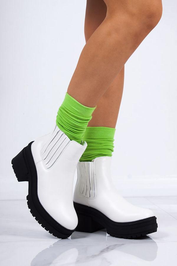 STEFFANI White Matte Chunky Chelsea Boots