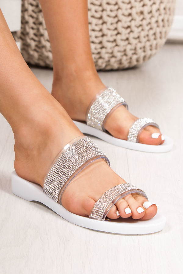 BETHANY White Diamante Strap Jelly Sandals