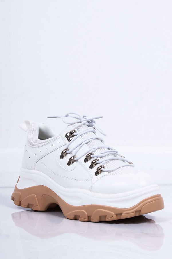 LIA White Lace Up Chunky Hiker Trainers
