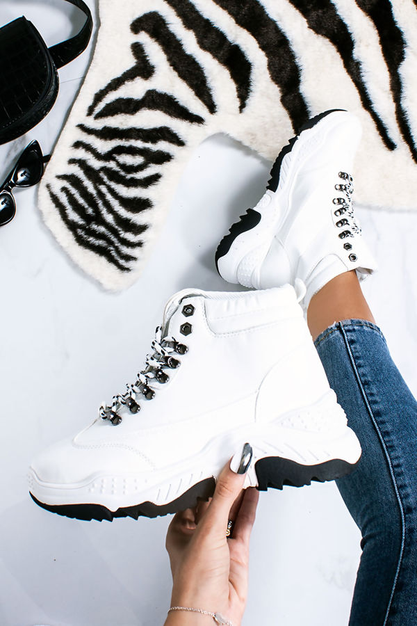 LIZZI White Faux Leather Chunky Hiker Trainers