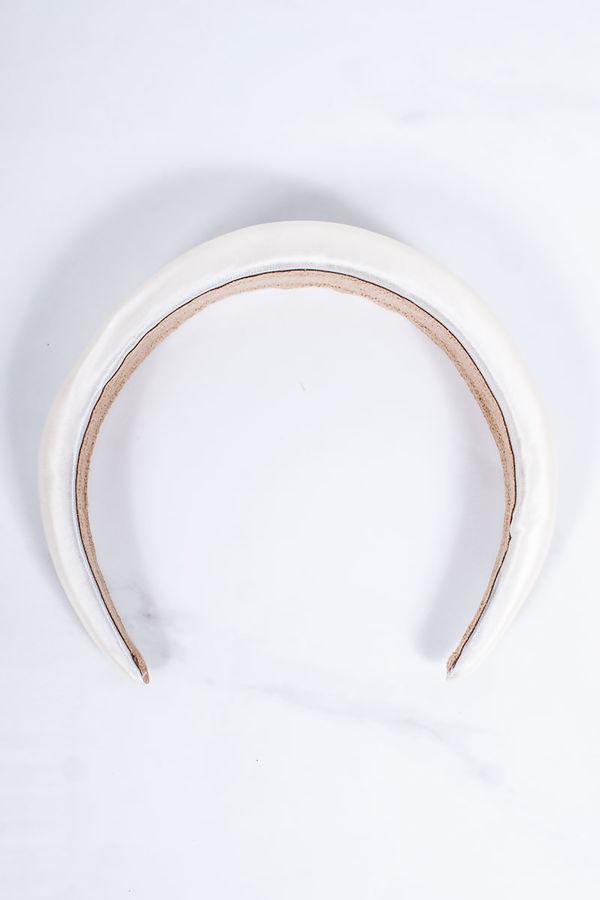 JENNIE Cream Satin Padded Headband