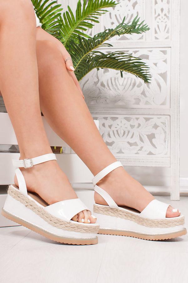 KENDALL White Croc Print Flatform Espadrille Sandals