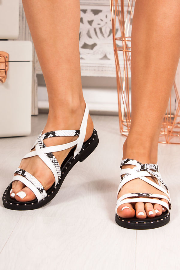 6a70be7cd1d TARA White Snake Print Cross Strap Stud Sandals