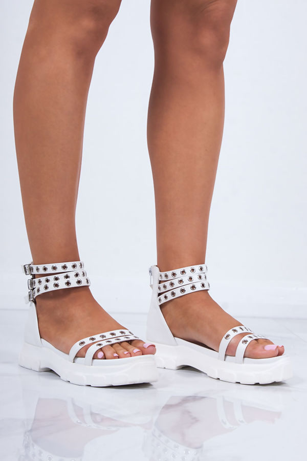 SASHA White Chunky Sports Sandals With Silver Detail